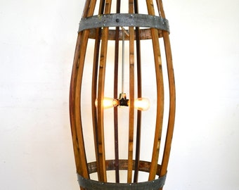 "CRAFTSMAN  - ""Teuthida"" - XL Wine Barrel Catch Chandelier - 100% recycled"