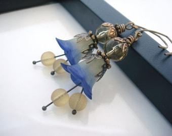 Blue Flower Earrings, Blue Earrings, Flower Earrings, Yellow Earrings, Hand Dyed, Lucite Flower Earrings, Vintage Inspired, Brass Earrings