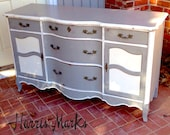 French Provincial Dresser Buffet Vintage Painted Gray White
