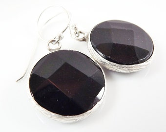 Black Round Gemstone Earrings - Onyx - Matte Silver plated with Sterling Silver Earwire