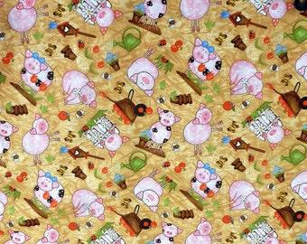 Pig Fabric Barnyard Bunch,  Pink and Tan