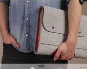 laptop case, macbook case 13 inch, wool felt, leather Corriedale SIZE M CO-M-GLB