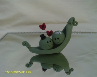 Peas in a pod Bride and groom wedding cake topper