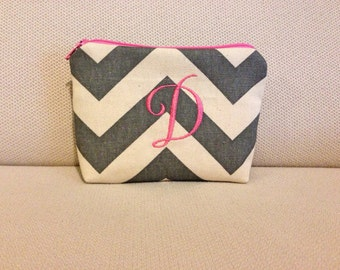 Personalized Padded Cosmetic Bag/ Gadget Case - Chevron -Gray