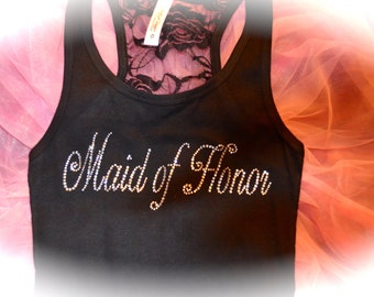 Large Maid Of Honor Lace Tank. Bride Gifts. Bridal Shower Gift. Bachelorette Party Tank Top. Bride To Be Tank. Brown, White, Red.  LARGE.