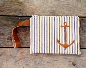 anchor wristlet,  blue and cream ticking, nautical, makeup bag, stripes, spring summer fall fashion, rustic, bridesmaid