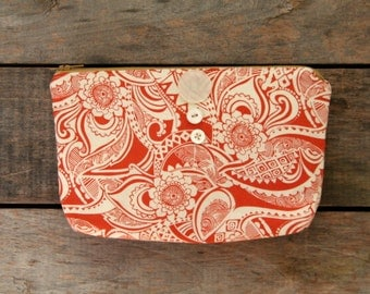 rust and cream zipper pouch / boho /  vintage buttons / floral / makeup cosmetic bag / spring summer fall fashion / back to school