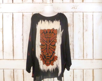 80s vintage black beaded tribal boho blouse/Hawaiian tiki face oversized shirt/beaded ethnic top