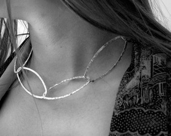 classic sterling silver necklace, chocker, large links