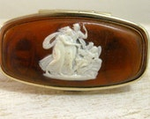 Lipstick Holder With Mirror or Lipstick Case With Mirror Vintage Cameo Cherub 1970's