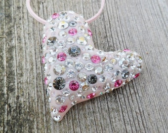 Heart Jewelry. Heart Necklace And Swarovski Crystals. Polymer Clay. Heart Necklace. Birthstone Necklace. Heart Pendant. Glass Necklace.