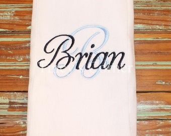 Initial with Name Monogrammed Burp Cloth
