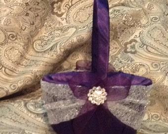wedding flower girl basket dark plum purple and silver color custom made