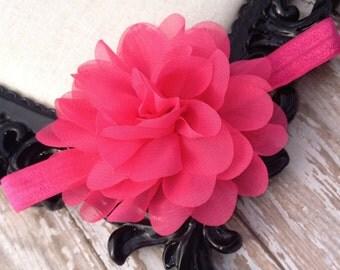 Hot pink headband, baby headband, infant flower headband, dark pink headband, magenta headband, pink flower headband, girls flower headband