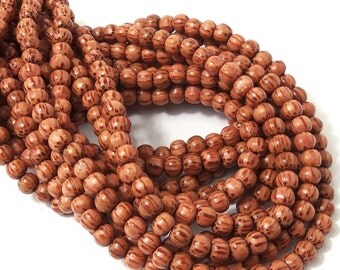 Palmwood Bead, 6mm - 7mm, Red-Brown, Light, Round, Smooth, Small, Natural Wood Beads, 16 Inch Strand - ID 1415-LT