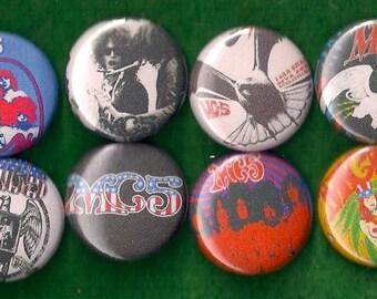 """MC5 1"""" Pins Buttons BadgesSet of 8 Punk Rock n Roll Hippy"""