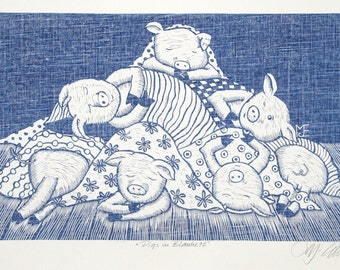 linocut , Pigs in Blankets, english humor,  chef, cook, kitchen, blue and white, fabric, texture, pigs, piglet, jeans blue, pattern, funny