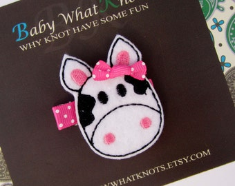 Cow Hair Clip, Baby Hair Clippies, Girl Barrette, Farm Animal Hair Clippie, hccow01