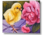 Baby Chick Pink Rose Animal Art Print on Wood by Janet Zeh
