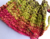 Neck Warmer with Shawl Pin Pink Lime Green Chunky Knit
