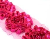 "Metallic Hot Pink - 2 1/2"" Shabby Chiffon Rose Trim-   Shabby Chic Trim - 1/2 or 1 yard"