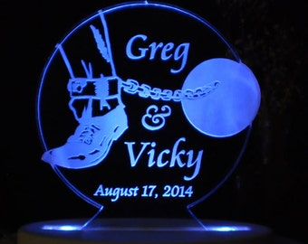 Ball and Chain  Wedding Cake Topper  - Engraved & Personalized - Light OPTION