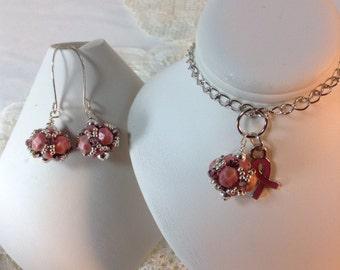 October Breast Cancer Pink Beaded Necklace Set