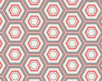 Coral fabric, coral and cream fabric by the yard, coral and gray