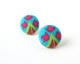 Gift for her - Funky stud earrings - bright fabric button earrings - pink blue green post earrings