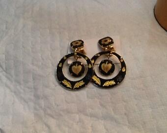 Vintage DAMASCENE Basalt and Gold Drop Earrings Flowers