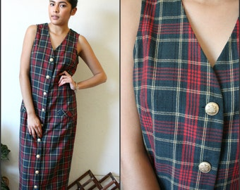 Vintage Sz Small Pretty In Pink  Annie Plaid 80s Dress By All That Jazz