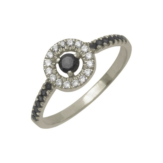 Antique Black Diamond Engagement Ring in 18k White Gold