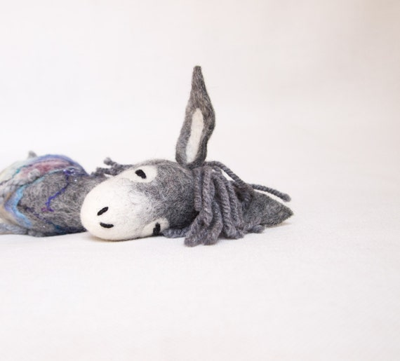 Henry - Felt Donkey.  Felted toy. Art  Marionette,  Felt Animal. Handmade Puppet, Felted Animals. grey  fog purple. MADE TO ORDER.