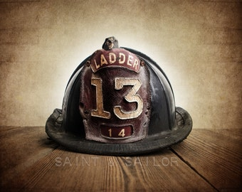 Vintage Fireman helmet Photo Art Print,Vintage Ladder 13, 12 Sizes Available from Print to Mounted Canvas