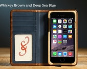 The Luxury Pocket Book Wallet Case for iPhone 6/6S - Whiskey Brown and Deep Sea Blue