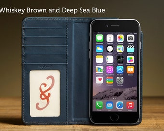 The Bella Fino Case for iPhone 6Plus/6S Plus - Whiskey Brown and Deep Sea Blue