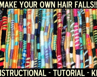 Make Your Own Hippie Hair Wraps Kit! Mail Order Pattern, Instruction, Tutorial, Materials to Make Yarn Falls, Atebas, Dread Extensions