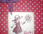 Fourth of July Tag  - Little Girl with Sparklers -   Set of Six