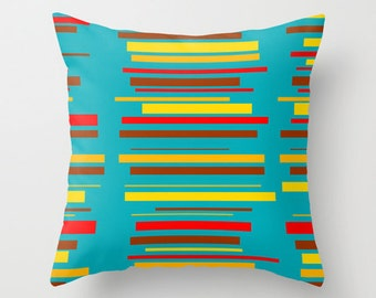 Modern Throw Pillow, Mid Century Modern Pillow, Blue Pillow, Striped Pillow, Modern Pillow, Modern Cushion, Cool Pillow, Retro Pillow