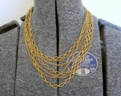 Multi-strand Vintage Monet Chain Gold Tone Necklace