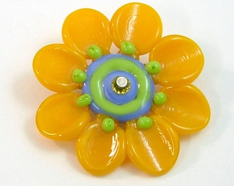 Yellow Orange Flower by Mystic Moon Beads SRA U5