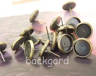 10pcs (5Pairs) fit 10mm Cabochon of Antique Bronze Ear Stud Base Filigree Smooth Pad Findings base Earring Stud,Cabochon Base