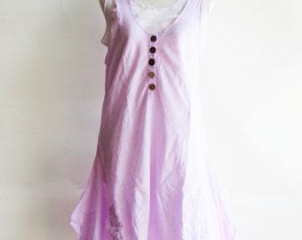 D7, Two Tone Kawaii Light Purple Cotton Dress, violet dress