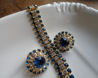 Blue and Clear Rhinestone Bracelet and Earrings