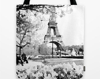 Pretty Black and White Paris Eiffel Tower Watercolor Print Tote Bag/ Paris Watercolor Painting. Visit Paris everyday with your new tote bag.