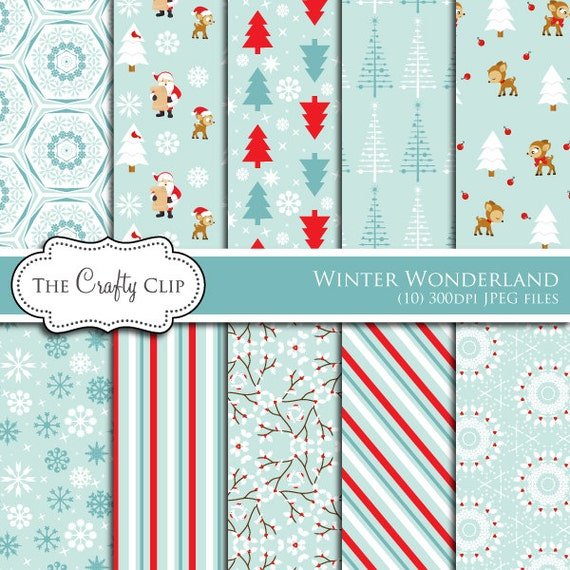 Christmas Digital Papers Holiday Backgrounds