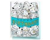 Birthday Card: DOG PARTY!! Group card, Illustrated and hand-lettered in blue and yellow