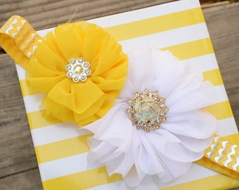 Gorgeous Yellow and White Beaded Flowered Shabby Chic Headband! Perfect for Newborn Pictures, Special Occasion or Every Day! Custom Made.