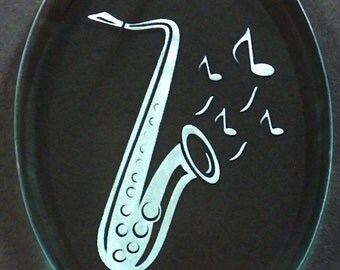 Carved Glass Saxaphone  Ornament