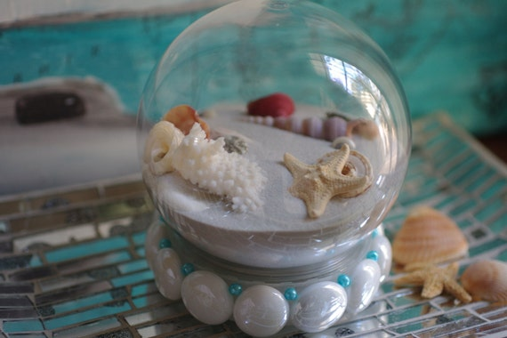 Beach Sand Globe - Snow Globe - Holiday Beach Decor - White Beads with Turquoise Pearls